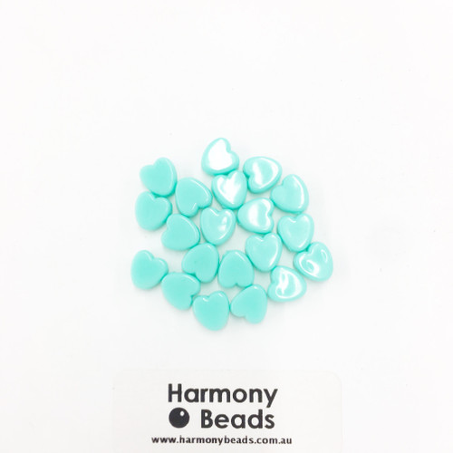 Acrylic Flat Heart Beads - 8mm - PASTEL TURQUOISE OPAQUE [20 pcs]