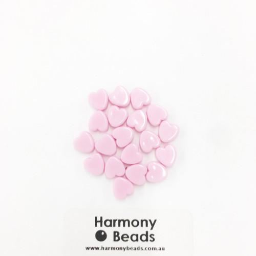 Acrylic Flat Heart Beads - 8mm - PASTEL LIGHT PINK OPAQUE [20 pcs]