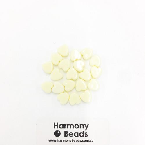 Acrylic Flat Heart Beads - 8mm - PASTEL LIGHT LEMON OPAQUE [20 pcs]