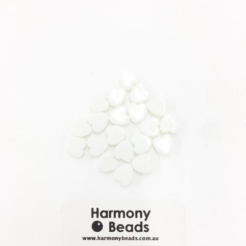 Acrylic Flat Heart Beads - 8mm - PASTEL WHITE OPAQUE [20 pcs]