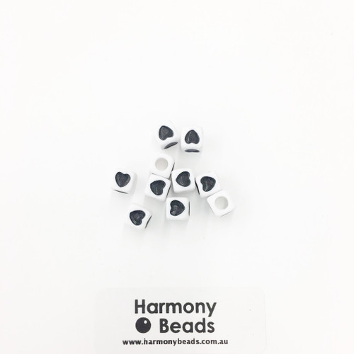 Acrylic Cube Beads with Heart Print - 7mm - BLACK HEART ON OPAQUE WHITE [10 pcs]