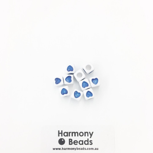 Acrylic Cube Beads with Heart Print - 7mm - BLUE HEART ON OPAQUE WHITE [10 pcs]
