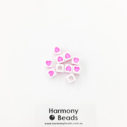 Acrylic Cube Beads with Heart Print - 7mm - PINK HEART ON OPAQUE WHITE [10 pcs]