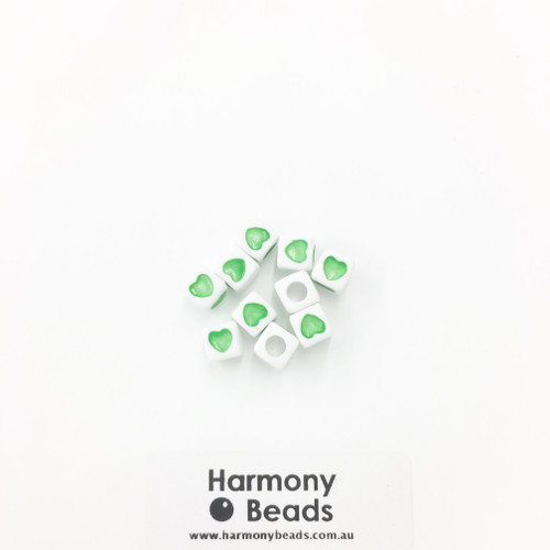 Acrylic Cube Beads with Heart Print - 7mm - GREEN HEART ON OPAQUE WHITE [10 pcs]