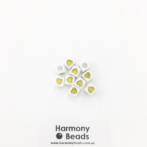 Acrylic Cube Beads with Heart Print - 7mm - OLIVE HEART ON OPAQUE WHITE [10 pcs]