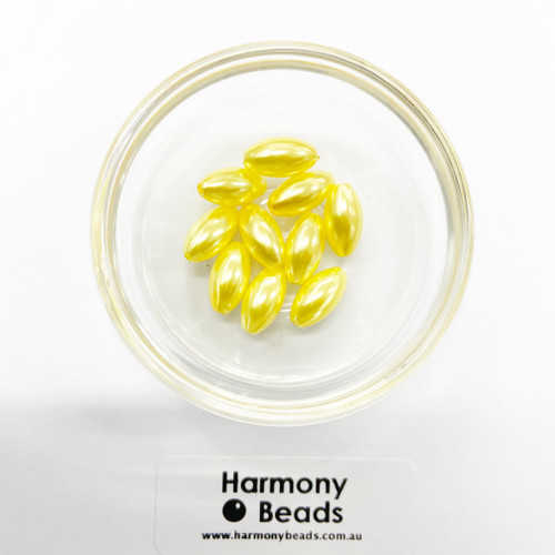 Acrylic Pearl Pointed Oval Beads - 7x14mm - YELLOW PEARL