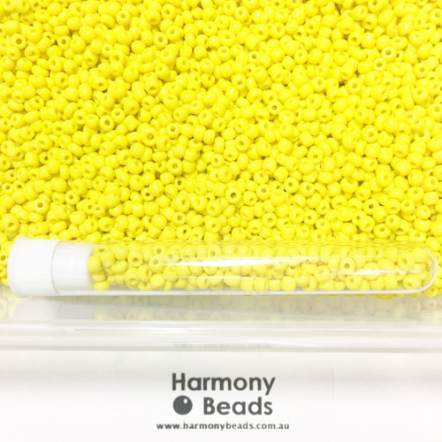 Glass Seed Beads 8/0 YELLOW OPAQUE