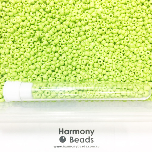 Glass Seed Beads 8/0 YELLOW GREEN OPAQUE