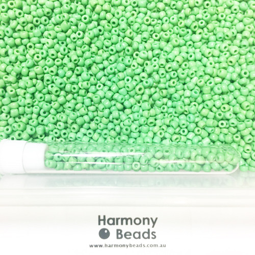 Glass Seed Beads 8/0 GREEN OPAQUE