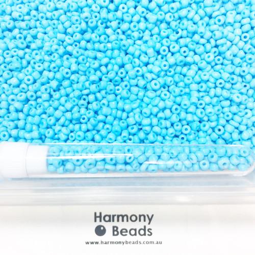 Glass Seed Beads 8/0 LIGHT SKY BLUE OPAQUE