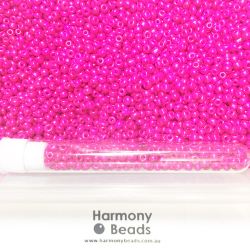 Glass Seed Beads 8/0 CAMELLIA HOT PINK OPAQUE