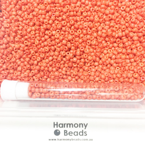 Glass Seed Beads 8/0 RED OPAQUE [5 gram tube]