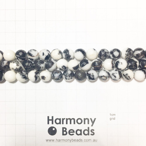 Zebra Jasper Faceted Round Beads, Natural, 10mm