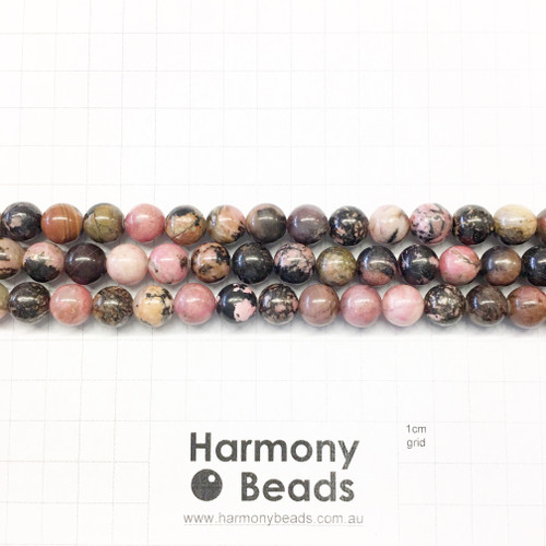Rhodonite Smooth Round Beads, Pink with Black Veins, 10mm
