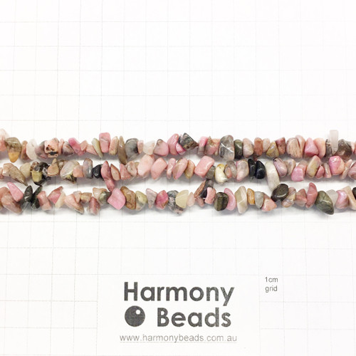 Rhodonite Small Chip Beads, Pink with Black Veins