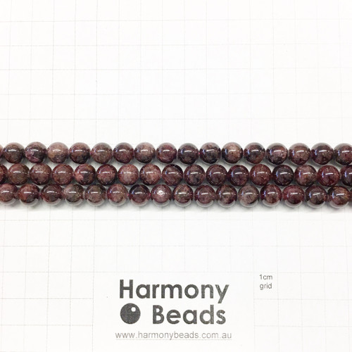 Garnet Smooth Round Beads, Natural, 8mm