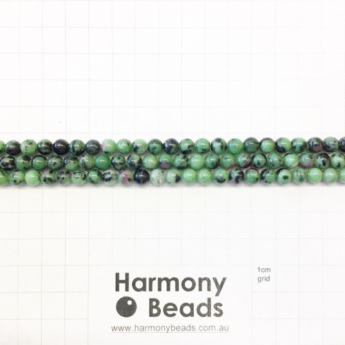 Ruby Zoisite Smooth Round Beads, 6mm, Natural