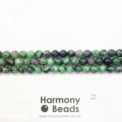 Ruby Zoisite Smooth Round Beads, 8mm, Natural