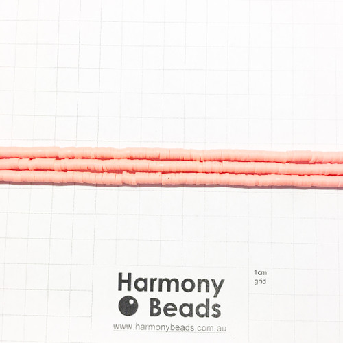 Polymer Clay Heishi Flat Disc Spacer Beads 4mm OPAQUE SALMON ORANGE