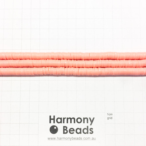 Polymer Clay Heishi Flat Disc Spacer Beads 6mm OPAQUE SALMON ORANGE