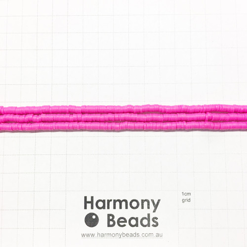 Polymer Clay Heishi Flat Disc Spacer Beads 4mm OPAQUE CAMELLIA HOT PINK