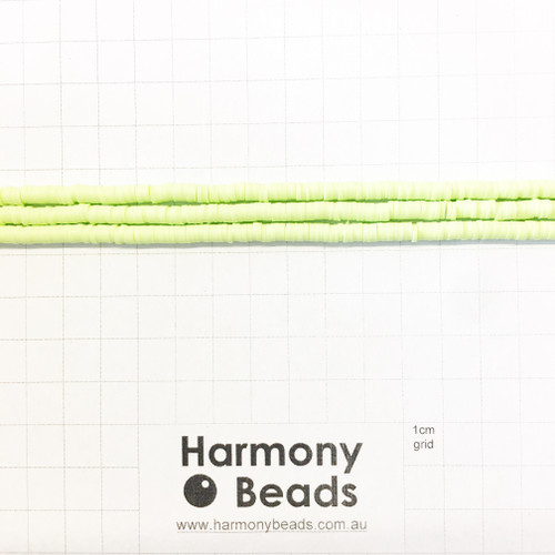 Polymer Clay Heishi Flat Disc Spacer Beads 4mm OPAQUE LIGHT GREEN