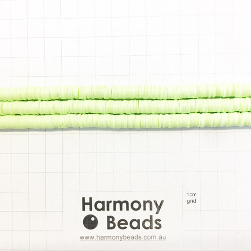 Polymer Clay Heishi Flat Disc Spacer Beads 6mm OPAQUE LIGHT GREEN