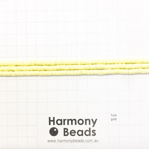 Polymer Clay Heishi Flat Disc Spacer Beads 4mm OPAQUE LEMON YELLOW
