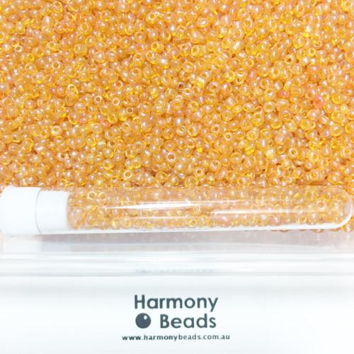 Glass Seed Beads 8/0 ORANGE TRANSPARENT LUSTRED [5 gram tube]