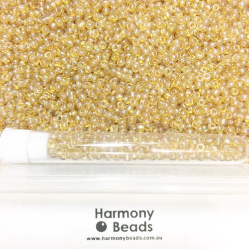 Glass Seed Beads 8/0 GOLDEN TRANSPARENT LUSTRED [5 gram tube]