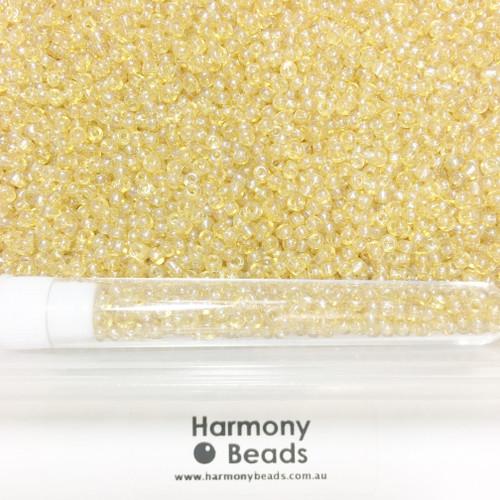 Glass Seed Beads 8/0 LIGHT GOLD TRANSPARENT LUSTRED [5 gram tube]