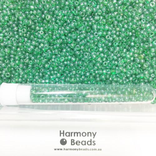 Glass Seed Beads 8/0 DARK GREEN TRANSPARENT LUSTRED [5 gram tube]