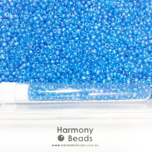 Glass Seed Beads 8/0 LIGHT BLUE TRANSPARENT LUSTRED [5 gram tube]