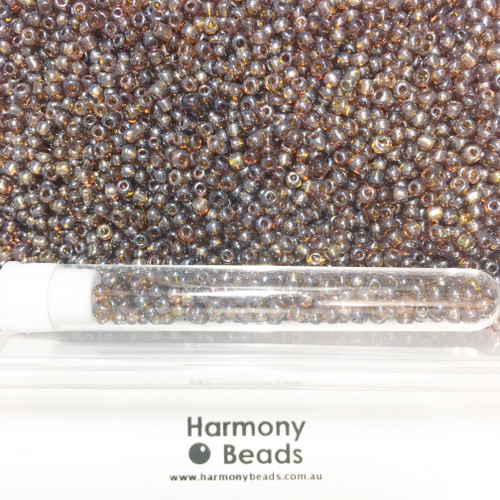 Glass Seed Beads 8/0 BROWN TRANSPARENT LUSTRED [5 gram tube]