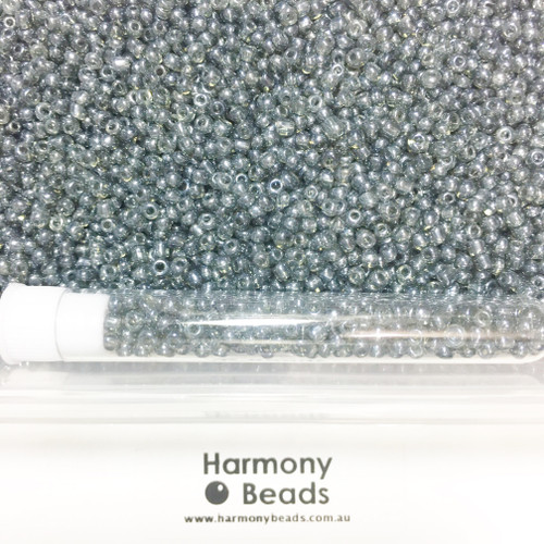 Glass Seed Beads 8/0 GREY TRANSPARENT LUSTRED [5 gram tube]