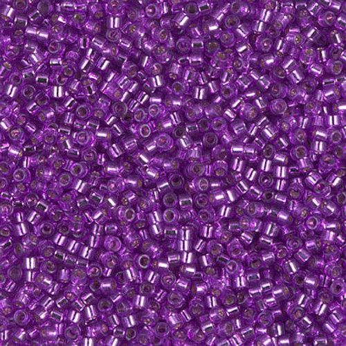Miyuki Delica Beads 11/0 DB1345 Dyed Silver Lined Bright Violet 7.2 grams