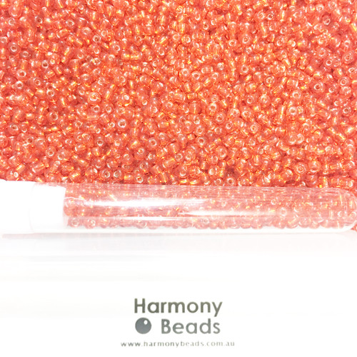 Glass Seed Beads 8/0 RED SILVER-LINED