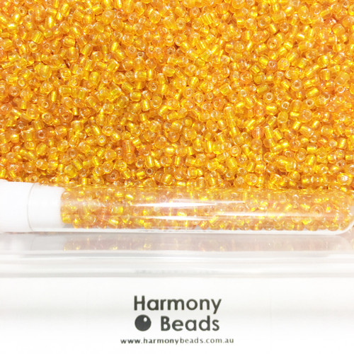 Glass Seed Beads 8/0 ORANGE SILVER-LINED