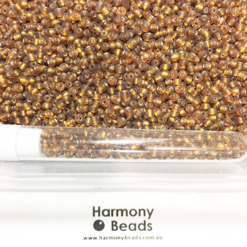 Glass Seed Beads 8/0 BROWN SILVER-LINED