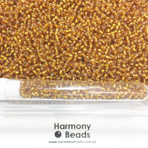 Glass Seed Beads 8/0 DARK GOLD SILVER-LINED