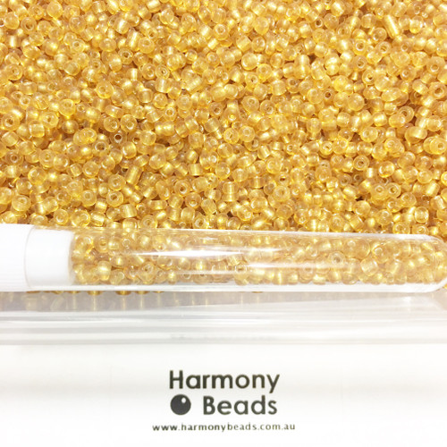 Glass Seed Beads 8/0 GOLD SILVER-LINED