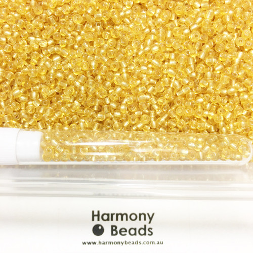 Glass Seed Beads 8/0 LIGHT GOLD SILVER-LINED