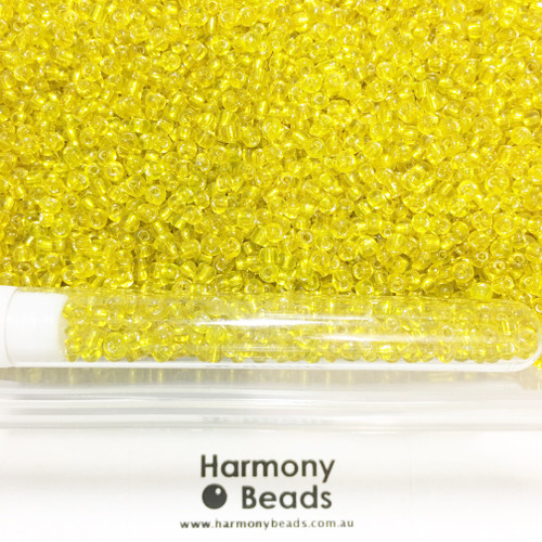 Glass Seed Beads 8/0 YELLOW SILVER-LINED