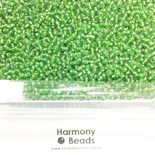Glass Seed Beads 8/0 LIME GREEN SILVER-LINED