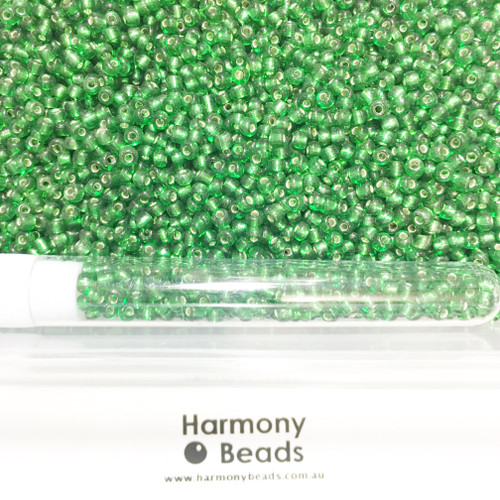 Glass Seed Beads 8/0 GREEN SILVER-LINED
