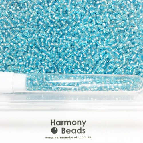 Glass Seed Beads 8/0 LIGHT TURQUOISE SILVER-LINED