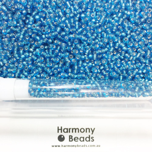Glass Seed Beads 8/0 SKY BLUE SILVER-LINED