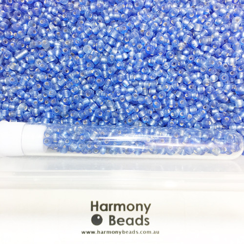 Glass Seed Beads 8/0 SAPPHIRE BLUE SILVER-LINED