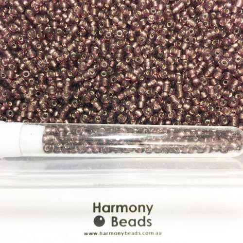 Glass Seed Beads 8/0 AMETHYST SILVER-LINED
