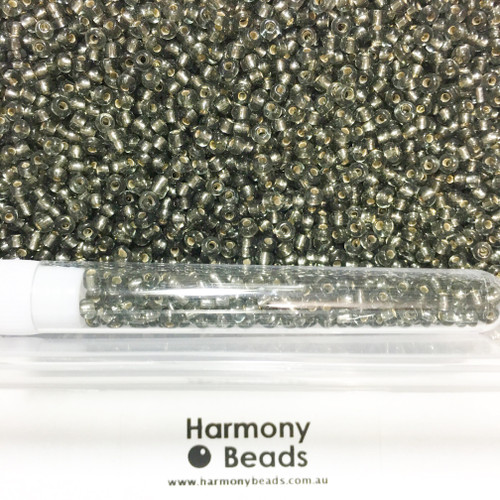 Glass Seed Beads 8/0 GREY SILVER-LINED